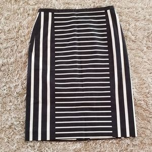 NWT J. Crew Black and White Striped Pencil Skirt
